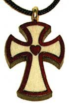 Small Heart Inlay Bloodwood Wooden Cross
