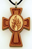 Confirmation Flame medallion wooden cross