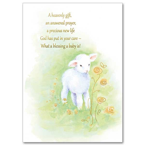 A Heavenly Gift, An Answered Prayer- Baby Congratulations Card pack of 5 cards